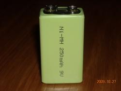 Аккумулятор Ni-Mh  9.0V 250mAh  6F22 типа крона